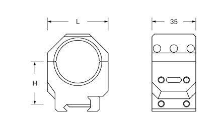 Dwuczęściowy montaż optyki Audere ADVERSUS D 30mm H 38mm 0 MOA
